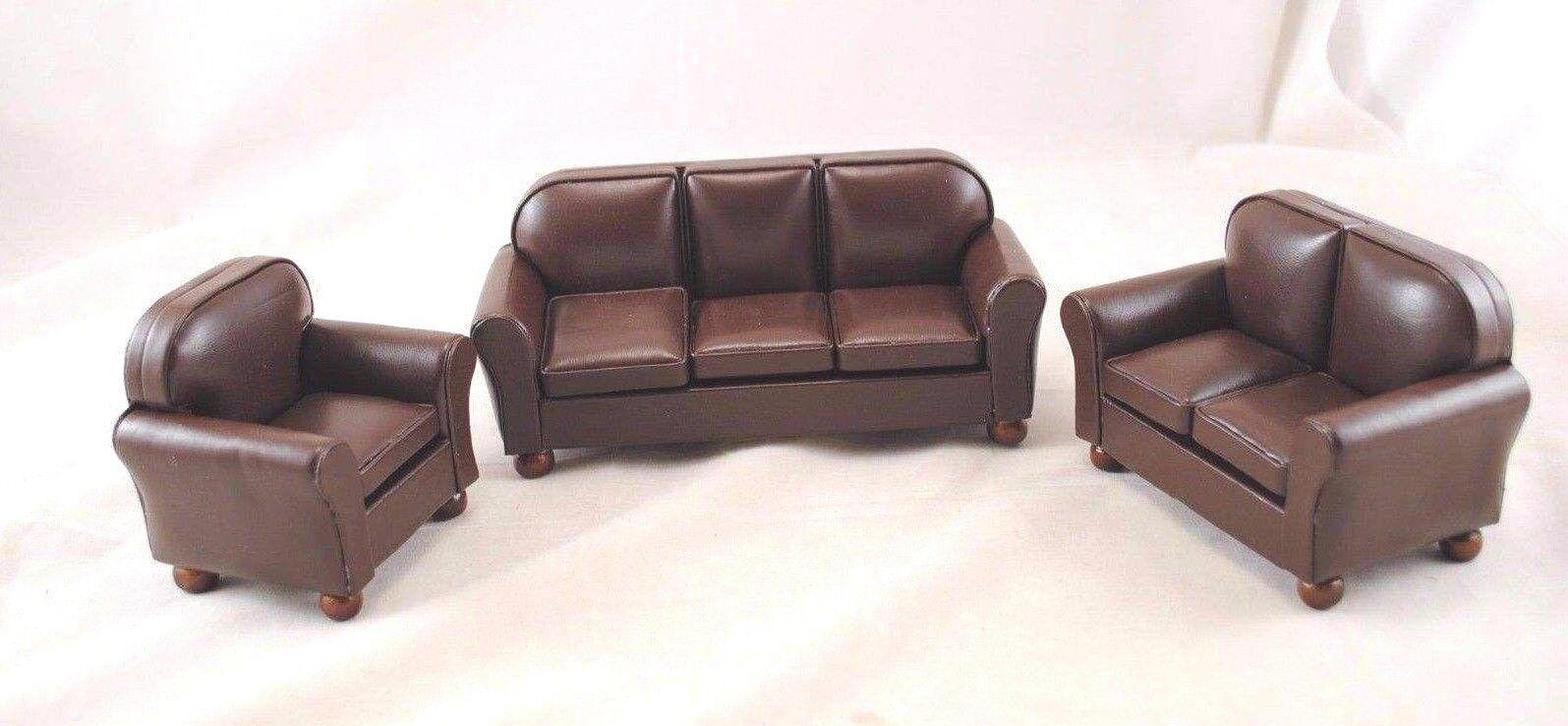 Living Room Set T6499 Braun Faux Leder Sofa miniature dollhouse 1-12 scale