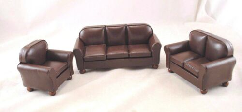 Living Room Set T6499 Brown Faux Leather Sofa miniature dollhouse 1-12 scale