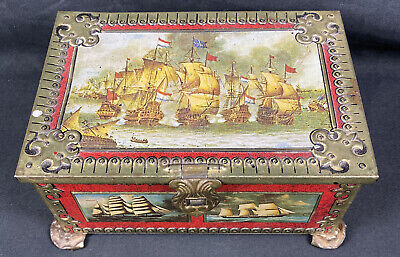 Vintage Parry/'s Sweets Litho Tin Box with Sail Ship Boat India Very Rare