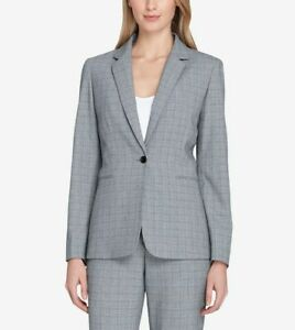 280-Tahari-Asl-Women-039-S-Gray-Plaid-One-Button-Front-Work-Career-Blazer-Size-16