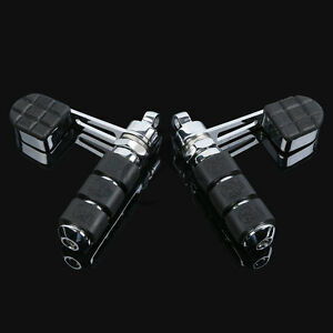 Stirrup Anti-Vibe Foot Pegs W// Heel Rest For Harley Sportster XL 883 1200 Iron