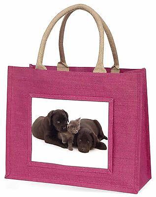 Schwarzer Labrador Hunde und Kätzchen Große Rosa Einkaufstasche
