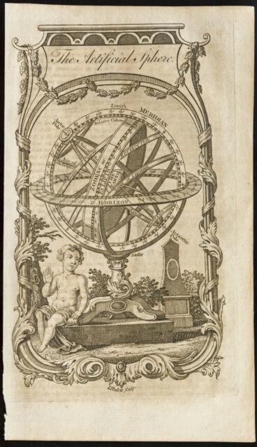 1770 - Carta antica The sfera artificiale (Sfera armillare) - Guthrie, Kitch