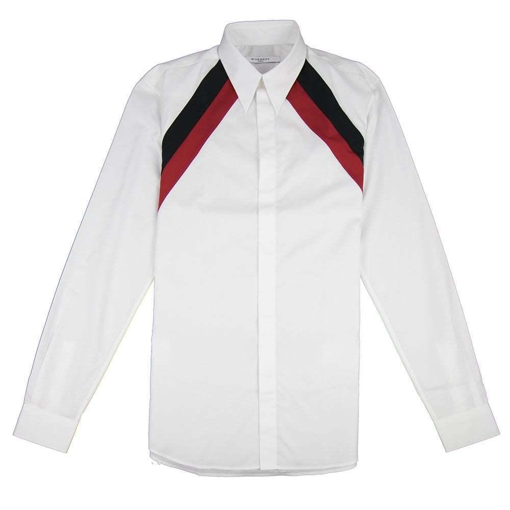 Givenchy Striped Shoulder Mens Long Sleeve Shirt White
