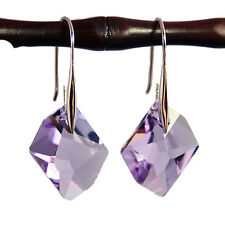 Violet Purple Crystal 925 Silver Earrings with Genuine Swarovski Elements