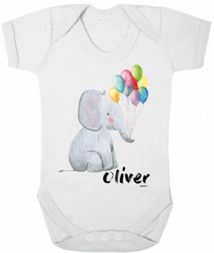 Personalised BABY GROW Boys Girls Elephant Balloons Bodysuit Baby Shower Gift