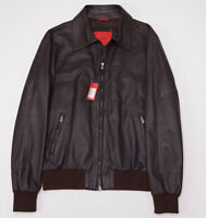 $3850 Isaia Napoli Dk Brown Nappa Lambskin Leather Flight Jacket 50/m Bomber on sale