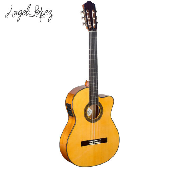 NEW Angel Lopez Spruce Top Acoustic Electric Flamenco Classical Guitar Natural