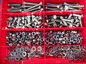 355-Teile-Edelstahl-V2A-Schrauben-Din-933-Muttern-Box-M4-M8