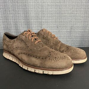 Cole-Haan-Zerogrand-Mens-Size-10-M-Wingtip-Oxfords-Shoes-Brown-Suede-C23271