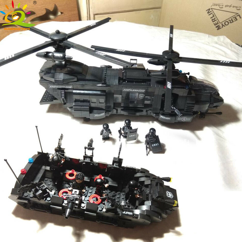 1351pcs Military Military Military SWAT Team Helicopter Tank Transport Lego Model Building Army 9cf8d6
