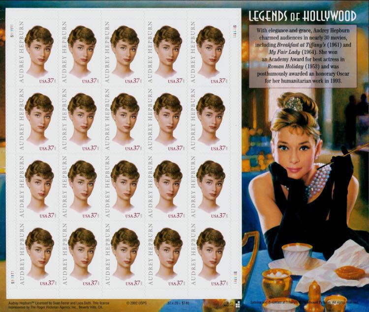 2003 37c Audrey Hepburn, Legends of Hollywood, Sheet of