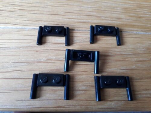 3839B Black x 5 Lego Plate 1 x 2 with handles flat ends Part No