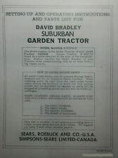 Sears David Bradley Garden Tractor Amp Rear Plow Owner Parts Amp Sales Ad Manual
