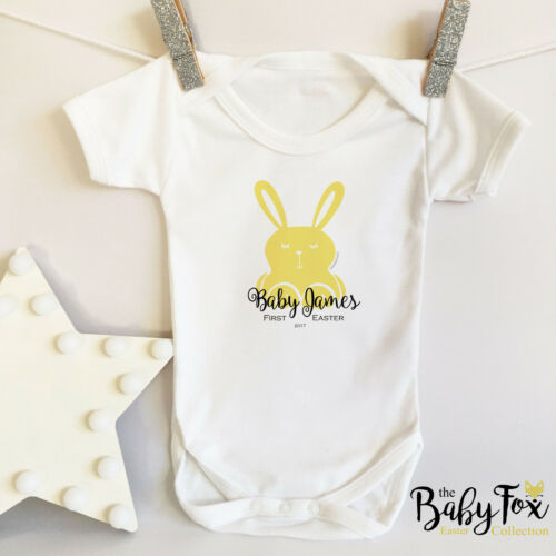 Personalised White Baby vest with Easter Bunny Motif