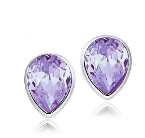 Ohrstecker Ohrring Wassertropfen Kristall lavendel lila Sterling Silber 925
