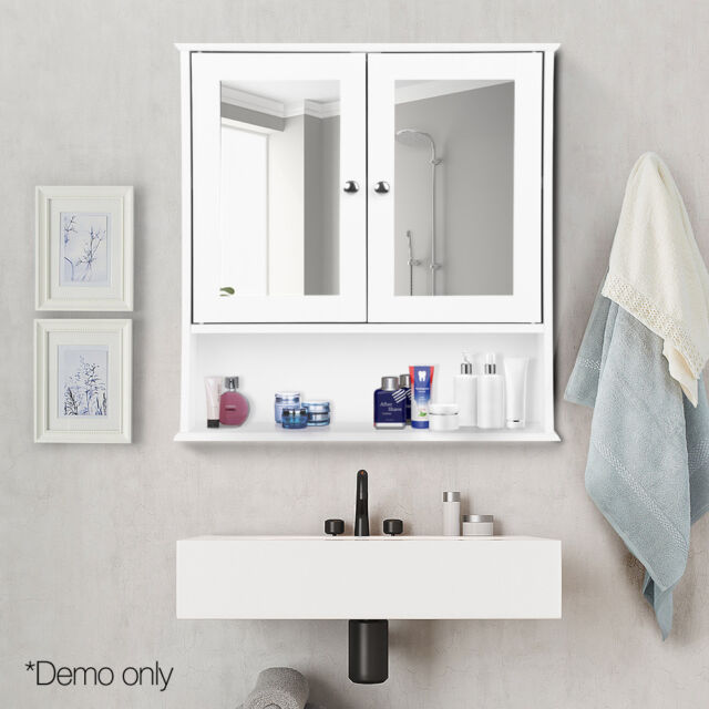 Bathroom Storage Mirror Cabinet Toilet Cupboard Wall Hung Mirrored Furniture