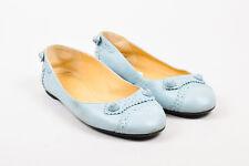 "Balenciaga Light Blue Leather Brogue ""Arena"" Ballerina Flats SZ 38"