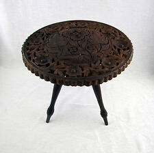 "Vintage Carved Plant Stand Accent Table Wooden Flowers 11-1/2"" Diameter"