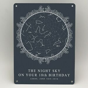 Birthday Star Map.18th Birthday Gifts Personalised Star Map Print Metal Sign Him Her