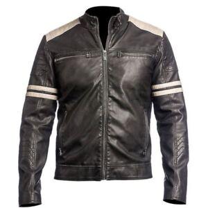 New-Men-039-s-100-Genuine-Lambskin-Leather-Jacket-Motorcycle-Biker-Cafe-Racer-Coat