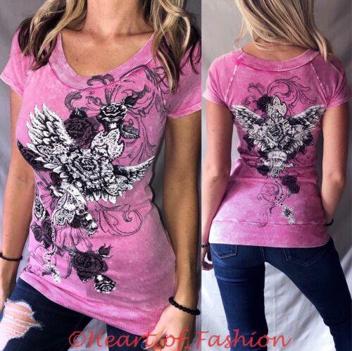 VOCAL Women/'s Vintage Distressed Pink Embellished Cross Graphic Biker Top Shirt
