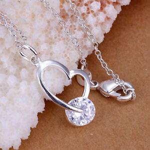 ASAMO-Damen-Halskette-mit-Herz-Anhaenger-925-Sterling-Silber-plattiert-H1214