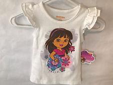 Girls T-Shirt Size 2T Nickelodeon Dora The Explorer White Ruffle Sleeve New