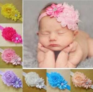 Flowers Newborn Baby Girl Headband Elastic Nylon Turban Hairband Photography US