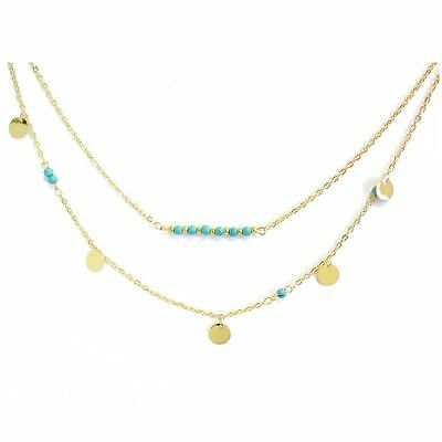 Bohemia Double Layers Gold Thin Discs with Turquoise Necklace Sequins Pendant