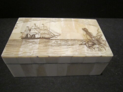 Antique Style Folk Art Mermaid Scrimshaw Etched Bone /& Wood Trinket Box