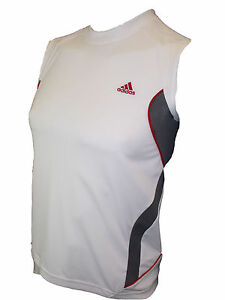 Men's Clothing Men's Adidas Sleeveless Running Shirt Gym Top In White/grey Color Activewear