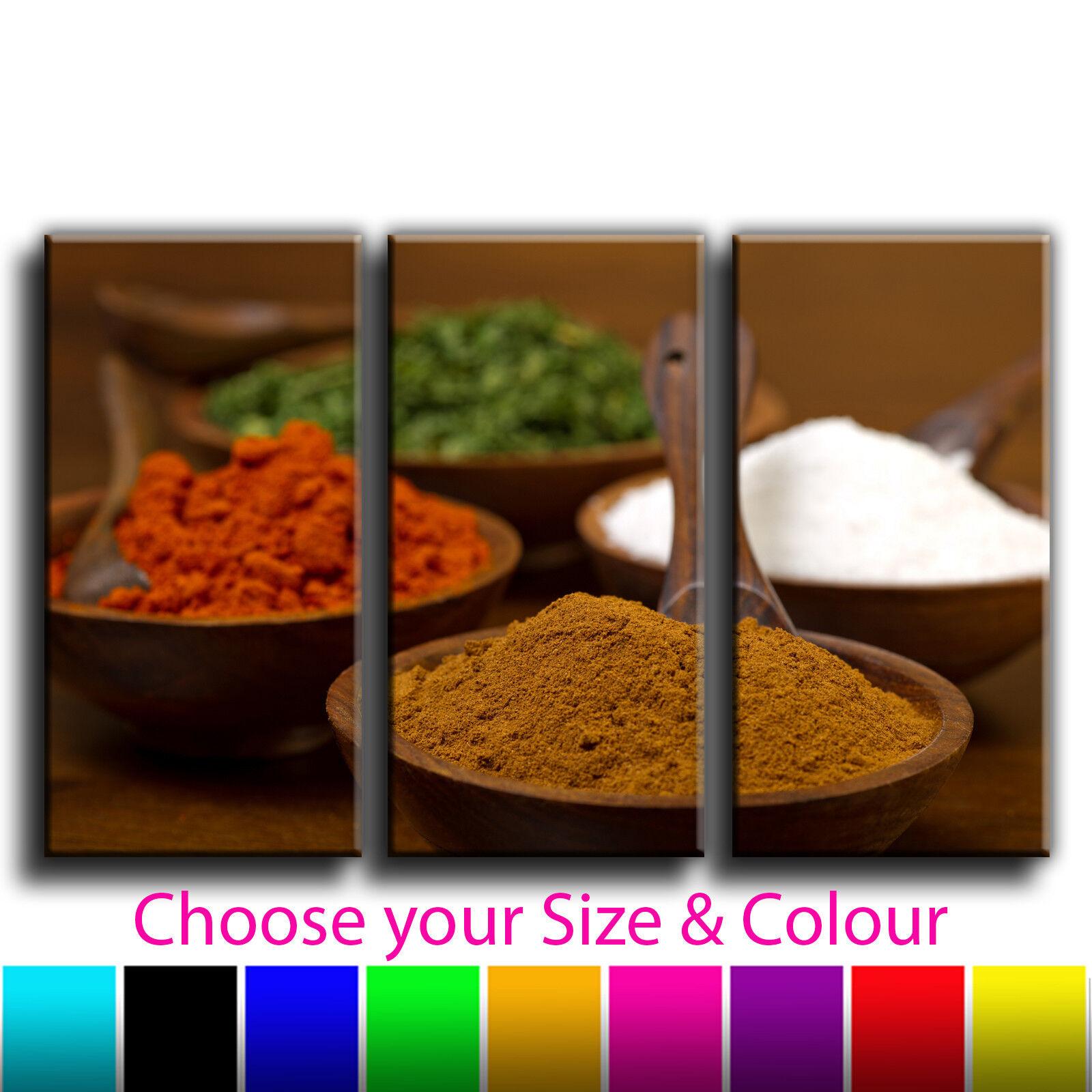 Indian Spice Pots Canvas Kunst Drucken Treble Triptych Box Framed Bild 4i