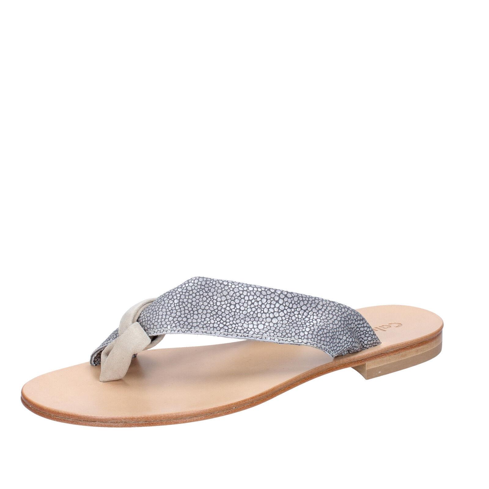 Scarpe donna CALPIERRE 40 EU sandali infradito grigio camoscio BZ880-F