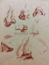 Etude de nez estampe circa 1770 aquatinte anonyme tête BONNET LOUIS-MARIN