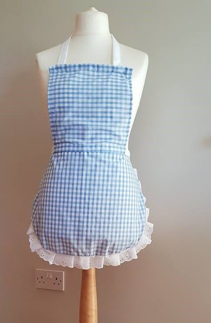 Adult Blue Gingham full apron white embroidery anglaise trim raggy doll s/m/l/xl