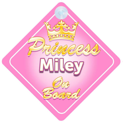 Crown Princess Miley On Board Personalised Baby Girl Car Sign