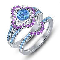 Multi Stone 1-5/8CT In Pure 925 Silver Disney Snowflake Princess Bridal Ring Set