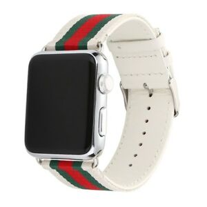 8b71f5ceed2 White Gucci Apple Watch Band 42mm Red Green Fashion Strap Guccy New ...