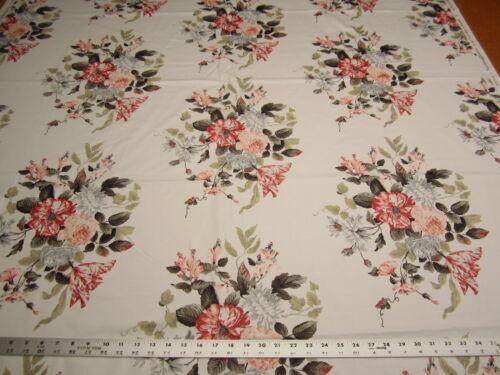 1 3/4 yards Sandown & Bourne Rosalie floral print cotton drapery fabric r2194b