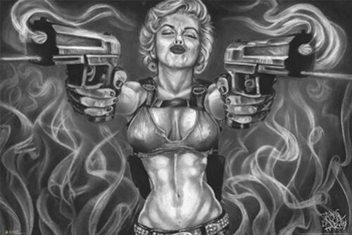 24x36 TATTOO JAMES DANGER HARVEY 3254 MARILYN MONROE GUNS ART POSTER