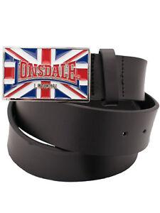 Lonsdale-London-Leder-Guertel-Schwarz-90cm110cm-mit-Guertelschnalle-UK-Larry-5270