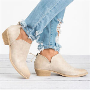 Women-039-s-Casual-Chunky-Heels-Round-Toe-Ankle-Boots-Short-Booties-Leather-Shoes