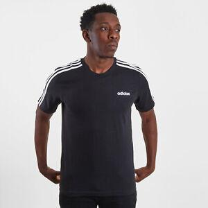 adidas Mens Essentials 3 Stripes T-Shirt Tee Top Black