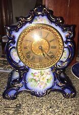 Beautiful Ansonia Towanda Porcelain Clock Flow Blue Strong Runner