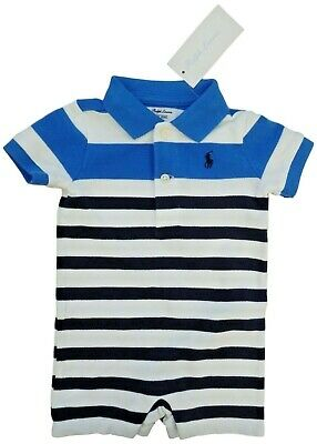 Ralph Lauren baby boys  romper shortall  blue stripes 0-3m,3-6 m