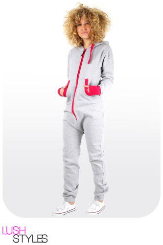 Womens Plain Jumpsuit Ladies All in One Peice Hooded Zip Up Playsuit S-5XL 8-24
