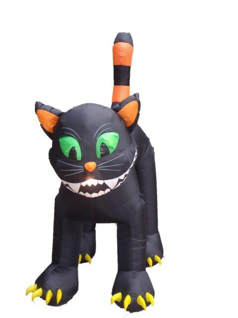 12FT HUGE Halloween Black Cat on 3 Pumpkins Lighted Airblown Inflatable Yard Dec