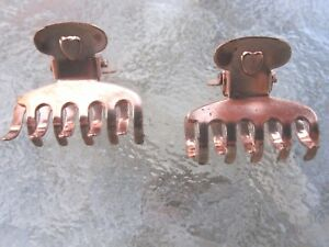 Vintage-2-Ea-Mini-Heart-Claw-Clips-Copper-Plated-Finish-10-Tooth-Made-in-USA