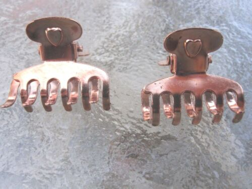 Vintage 2 Ea Mini Heart Claw Clips Copper Plated Finish 10 Tooth Made in USA